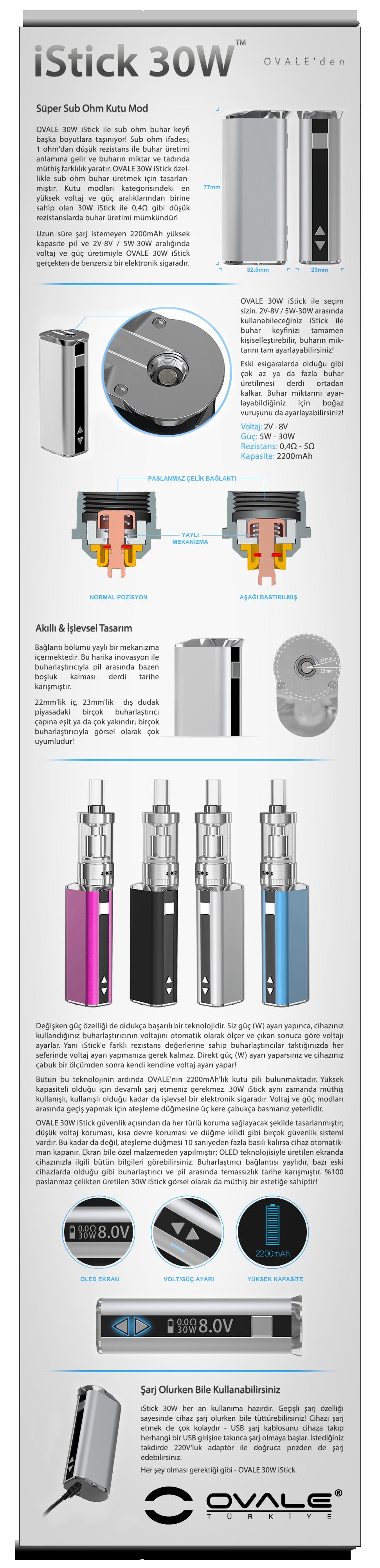 elektronik sigara, esigara, e, sigara, istick, mod, ovale, eleaf, 30w
